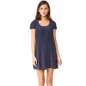 Joie Luxe Silk Peasant Dress in Dark Navy Small